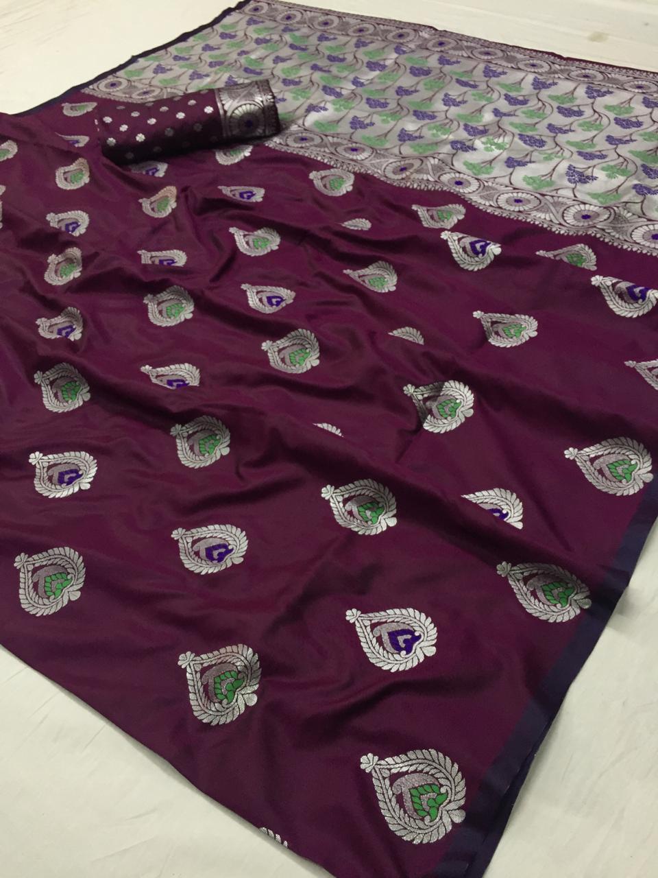 Burgundy banarasi soft silk sarees|banarasi sarees online