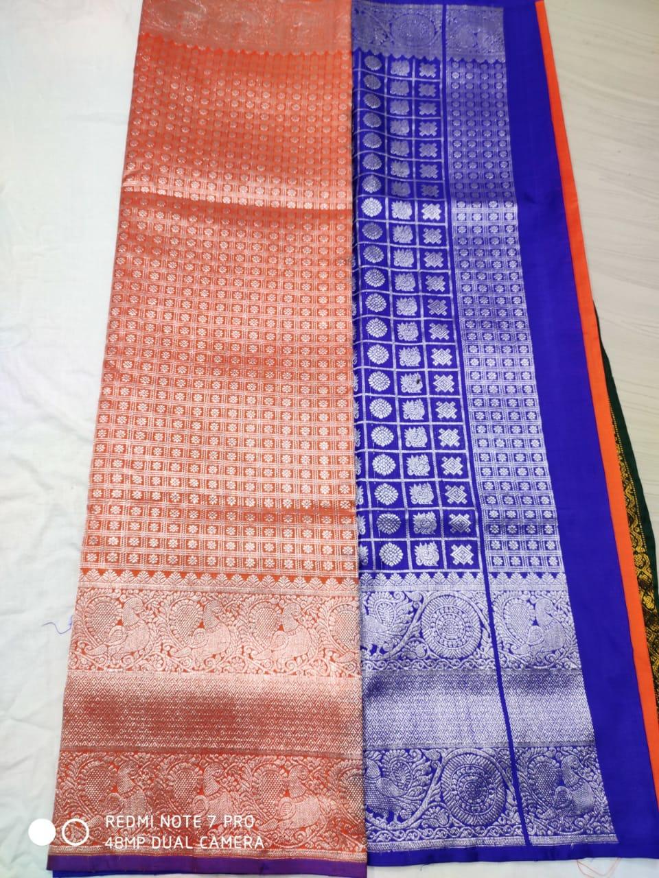9f17d69adaf Orange and blue pure venkatagiri sarees