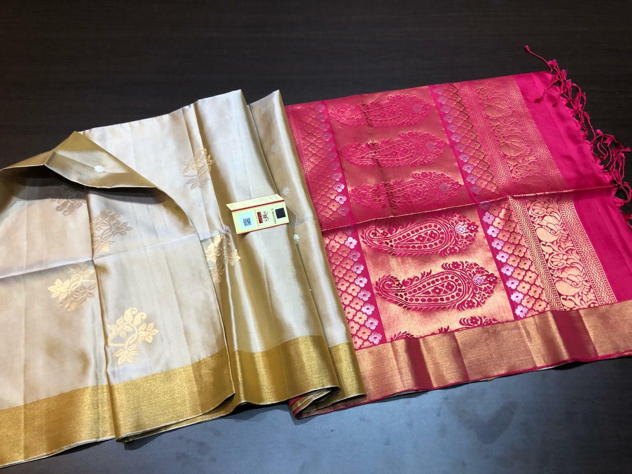 Beige and Dark pink pure kanchipuram soft silk sarees