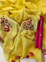 Pure linen by linen French knotwork sarees