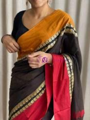Black narayanpet cotton sarees with ganga jamuna border