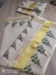 Thulasi kadhir print on golden tissue sarees