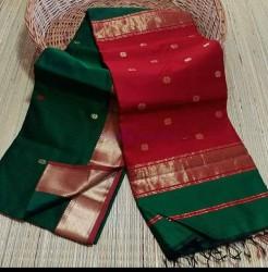 Handloom Maheswari sarees with jari lahar border