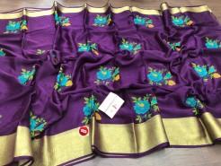 Pure mysore wrinkle crepe embroidered sarees