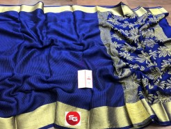 Navy blue mysore wrinkle crepe sarees with rich pallu