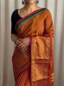 Orange mercerised narayanpet cotton sarees