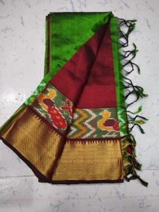 Mangalagiri pattu sarees with ikat border