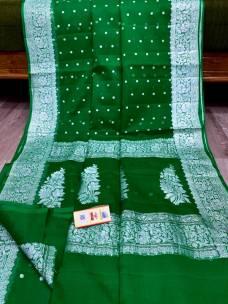 Pure chiffon Georgette khaddi handloom kadwa butti sarees