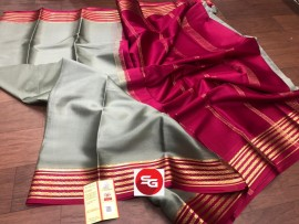 Pure Mysore silk crepe saree