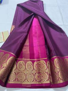 100 gram thickness mysore silk sarees with dual mango border