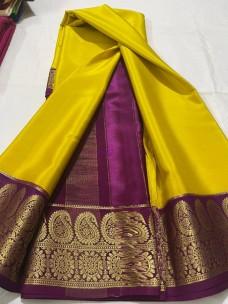 100 gram thickness mysore silk sarees with dual mango border
