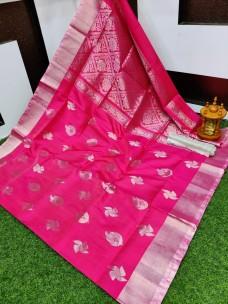 Uppada pattu sarees with silver border
