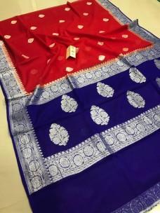 Pure benaras chiffon sarees