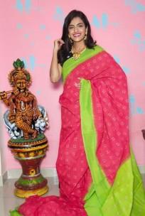 Handloom double ikkat cotton sarees