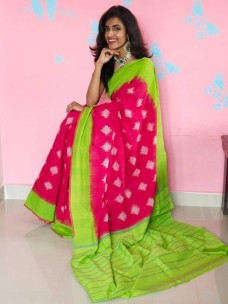 Handloom double ikkat cotton sarees