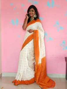 Handloom mercerised double ikkat cotton sarees