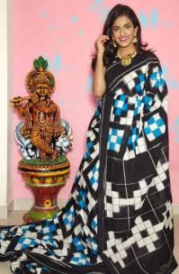 Handloom mercerised double ikkat cotton sarees