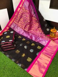 Chanderi kuppadam sarees with peacock butta