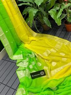 Pure banarasi chiffon dual shade sarees