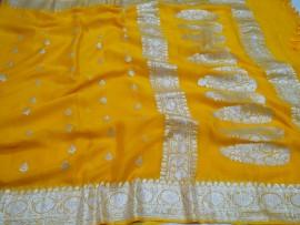 Pure handloom chiffon banarasi sarees