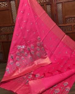 Tussar munga computer embroidery sarees