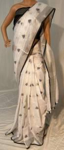 Black embroidered linen saree