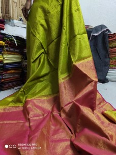Mehendi green tissue linen sarees
