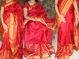 Red with gold Zari uppada silk saree