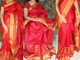 Red with gold Zari uppada silk saree