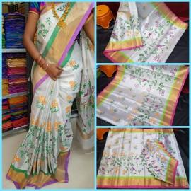 Uppada tissue cotton printed sareee