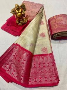 Pure chanderi silver tissue sarees