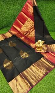Chanderi peacock gold kuppadam border sarees