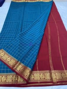 120 counts pure mysore silk checks sarees