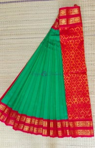 Kanchipuram korvai silk cotton with rettai border