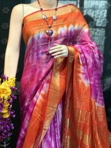 Shibori slub linen sarees