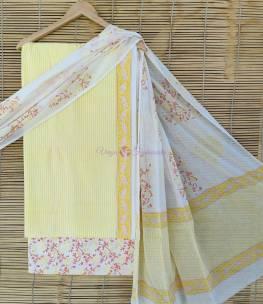 Cotton dress materials with block print