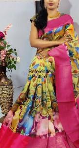 Pure banarasi silk with pen kalamkari prints