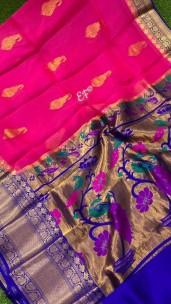 Pure Kanchi organza sarees with paithani pallu