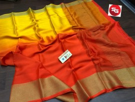 Pure mysore silk wrinkle crepe sarees with dual shade
