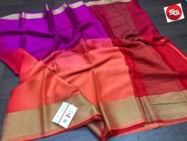 Pure mysore silk wrinkle crepe sarees with dual shade