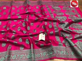 Pure crepe silk sarees with thread work