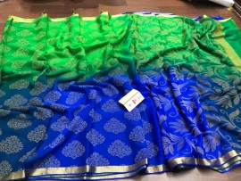 Pure mysore wrinkle crepe silk sarees with 3D dyeing