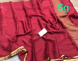 Pure mysore silk wrinkle crepe sarees with piping small border