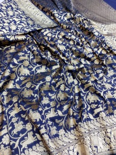 Banarasi semi pure silk karan shikarga fully work sarees