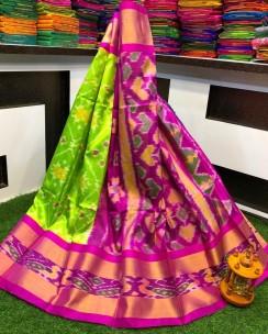 Special pochampally kuppadam pattu sarees with gold khaddi border