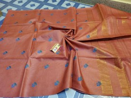 Pure tussar nail silk embroidered saree