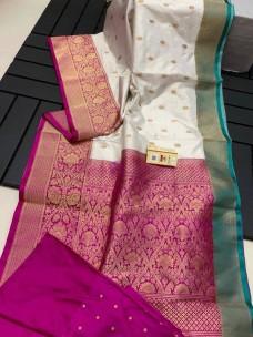Banarasi katan silk sarees with antique jari
