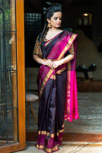 Black and pink uppada checks sarees