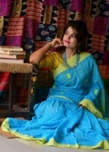 Sky blue khadi cotton sarees