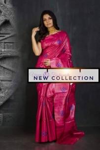 Pure handloom tussar gicha embroidery sarees